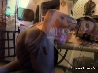 Enormous-titted wifey gets arched over and smashed by a enormous beef whistle