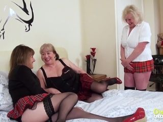 OldNannY Mature three-way girl-on-girl onanism