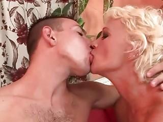 Hot hairy granny fucking young man