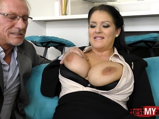 Dark haired porn industry star surprise buttfuck and jizm on milk cans