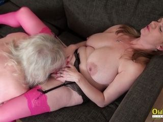 OldNannY 2 nymphs frolicking With playthings and gobbling