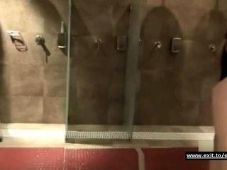 Sexy nude moms filmed in public shower