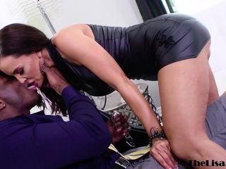Big-boobed cougar Lisa Ann bum torn up by big black cock before facial cumshot cum-shot