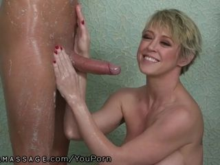 Mature mom Joins in Stepson's Nuru rubdown