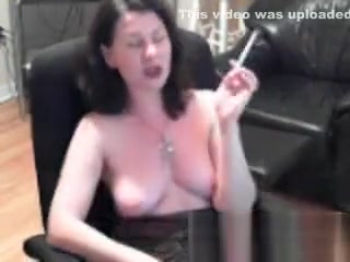 Trampy big-titted dark haired showcases