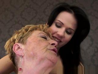 Buxomy grandma licks butthole And frigs youthfull sweetie