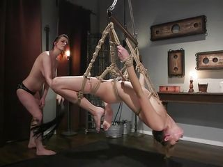 Super hot domination & submission activity With mischievous cord restrain bondage For Zoe Sparx
