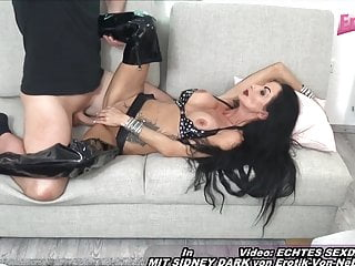 German mature thin cougar housewife in laex with huge orbs