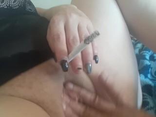 Smoking while getting harshly finger-banged