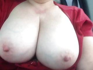Driving with my ginormous breasts out