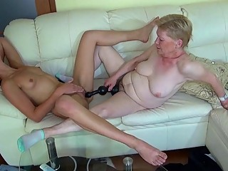 Old granny masturbating with young girl