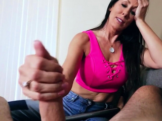 Mature step-mother Reagan Foxx gives a super-steamy point of view blow-job