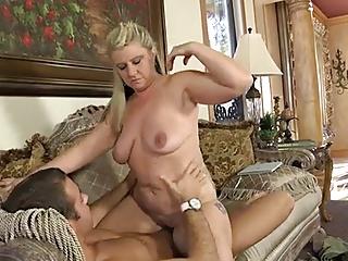 mature chubby woman banged on a sofa