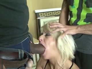 Mature blond wifey cuckold on hubby with ebony guy fuckpole
