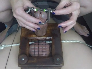 Female domination man sausage and ball torture spreading And Sounding His man sausage While In The Waffle Maker