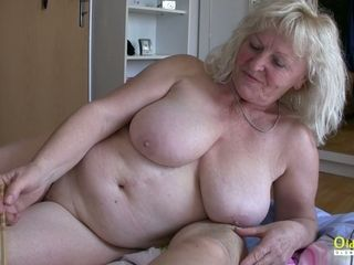 OldnannY huge-titted plump Matures toying with wood