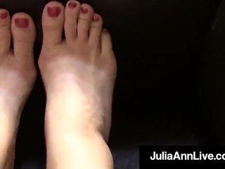 """Sensual cougar Julia Ann Paints Her Toenails & displays glorious Feet"""