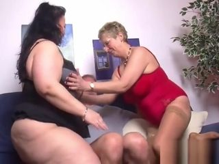 Phat thighed plus-size joins in with mature duo