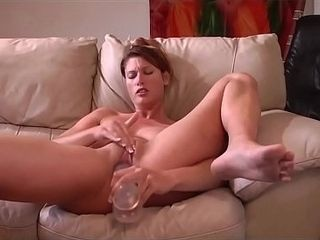 Cougar tugging With Her Glass faux-cock For Boyfriend&#039_s delight