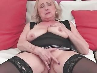 Busty granny masturbatin and riding big cock