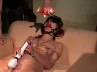 Breast tied bdsm babe gets off on waxing