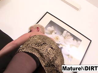 Light-haired mature keeps her tights on for shagging ebony jizz-shotgun