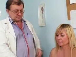 Massive orbs light-haired mature furry vulva examination