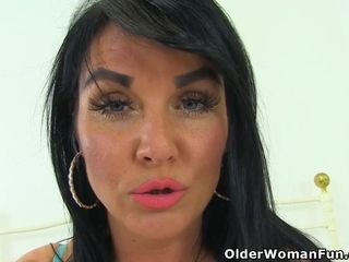 Brit cougar Cassie peels off off and fake penises her fanny