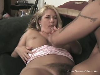Hairy big titty blonde milf loves fucking younger men