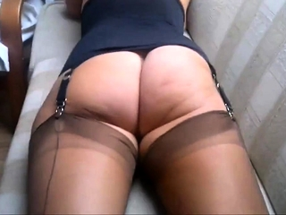 In my chocolate-colored FF nylon tights in a harness with a nude caboose