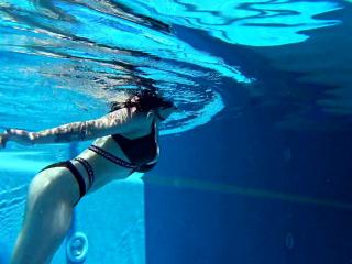 Humungous cupcakes Sheril heads underwater nude