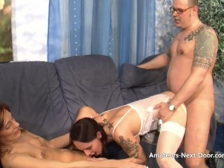Aroused brunettes first-ever three way
