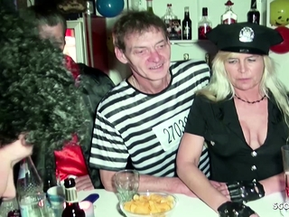 Ravage in front of buddies on soiree from German cougar Jenny