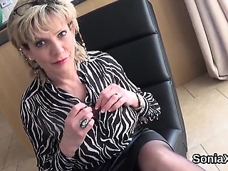 Cheating british mature lady sonia flaunts her monster tits