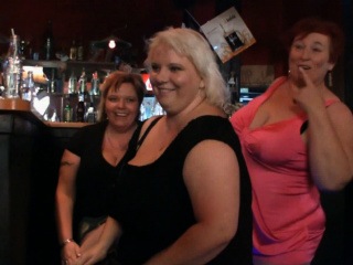 Witness highly super-fucking-hot gang plus-size soiree in the pub
