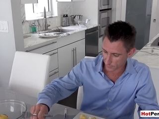 Buxom cougar step-mom blows her son-in-law next to father
