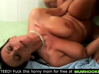 Mother have a crazy intercourse in the douche with her son