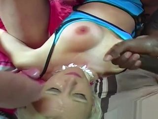 Lean platinum-blonde cougar gang-fucked and jizzed over