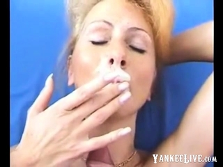 Blondie cougar facial cumshot CUMPILATION ( SLOW mobility )