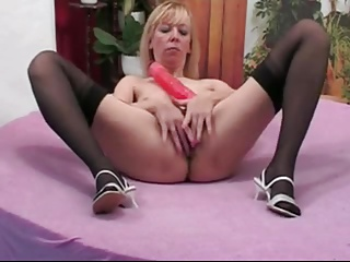 Blonde MILF With Creamy Cunt Toys And Fucks A BBC