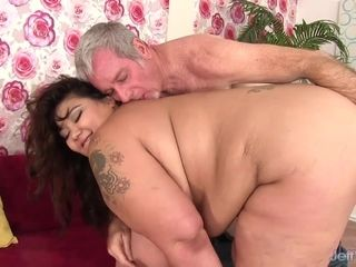 Fat MILF Miss LingLing Has Her Hairy Asian Pussy Stretched by a Grandpa