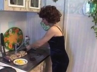 Insane Russian auntie romps youthful boy Kitchen 14