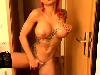 Ginger-haired solo doll finger-tickling super hot vagina