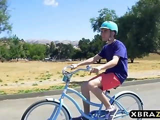 Neighborhood MILF squirts all over young guys big dick