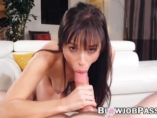 Gargling and drinking jizz by super-steamy thin black-haired honey