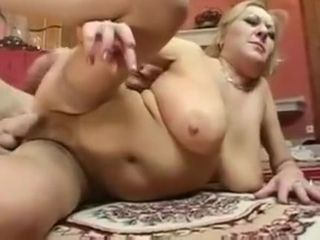 Busty Blonde Mature in Stockings Fucks the Cleaner