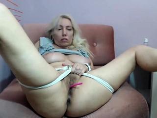 Blondie fledgling cougar rails a faux-cock on web cam