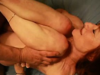 Chunky grown-up redhead Maggie anal creampie