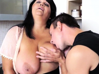Big-chested grandmother butthole licked