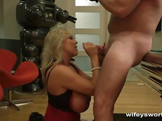 Cougar With meaty hooters inhales sausage and gulps Yuletide jism